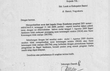 Press Release: Larangan Penerbitan SKTM di Bantul