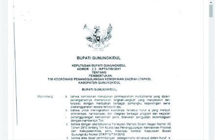 SK Bupati Gunungkidul No 23/KPTS/TIM/2011 Tentang TKPKD Kab. Gunungkidul
