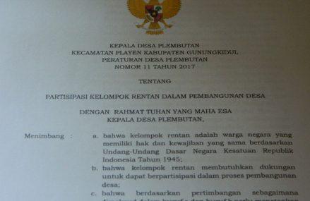 Perdes Plembutan Tentang Partisipasi Kelompok Rentan dalam Pembangunan, Satu-satunya di Indonesia